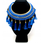 Fun Electric Blue Tassle Braided Necklace