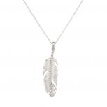 Pave Stem Leaf Tree Pendant Necklace