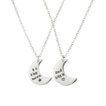 To The Moon & Back BFF Star Heart Best Friends Forever Necklace Set (2 PC).