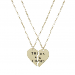 Best Friends BFF Thick As Thieves Heart Pendant Necklaces (2 PC)
