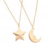 Man in the Moon Star Galaxy Best Friends Forever BFF Necklace Set (2 PC)