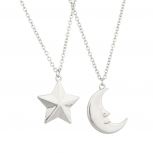 Man in the Moon Star Galaxy Best Friends Forever BFF Necklace Set (2 PC).