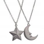 Man in the Moon Star Galaxy Best Friends Forever BFF Gunmetal Necklace Set (2 PC)