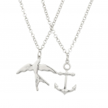 Dove Anchor Bird Best Friends Forever BFF Necklace Set (2 PC).