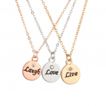Live Laugh Love Delicate Charm BFF Best Friends Forever Pendant Chain Necklace (3 PC)