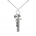 Gunmetal Pave Cross Key Unlock My Heart Tassel Fringe Disc Charm Necklace