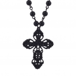 Classic 80s Gothic Black Rosary Cross Beaded Pendant Necklace