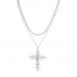 Silvertone Faux Pearl Crystal Rhinestone Filigree Cross Necklace
