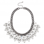 Crystal Stone Statement Collar Necklace Gunmetal