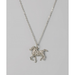Kids Girls Silver Running Horse Pendant Necklace