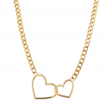 Double Hollow Empty Heart Chain Link Necklace