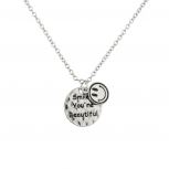 Smile You're Beautiful Happy Face Pendant Chain Charm Necklace.