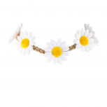 White Braided Sunflower Floral Flower Festival Choker Necklace