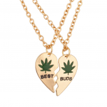 Best Buds BFF Best Friends Heart Forever Pot Marijuana Leaf Necklaces (2 PC)