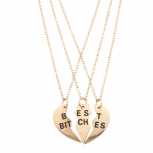 Best Bitches BFF Friends Forever Heart 3 PC Necklace Set