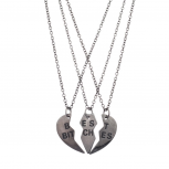 Best Bitches BFF Friends Forever Gunmetal Heart 3 PC Necklace Set