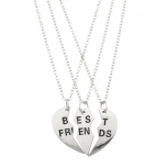 Best Friends BFF Forever Heart 3 PC Necklace Set.
