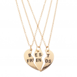 Best Friends BFF Forever Heart 3 PC Necklace Set