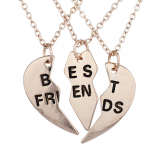 Rose Gold Tone Best Friends BFF Broken Heart Necklace Set 3PC