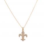 Fleur De Lis Saints Pave Pendant Necklace
