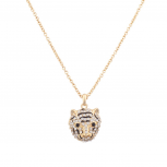 Pave Panther Tiger Cat Animal Pendant Necklace