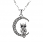 SilverTone Crystal Rhinestone Crescent Moon Owl Pendant Necklace