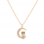 Pave Owl Quarter Moon Galaxy Pendant Necklace
