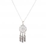 Dreamcatcher Owl Elephant Spear Arrow Head Tribal Leaf Crystal Floral Interchangeable Charm Pendant Necklace (7 Charms).