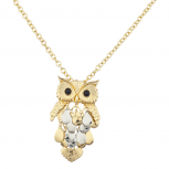 Mixed Metal Gold Silver Owl Charm Pendant Necklace Set
