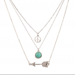 Peace Sign Turquoise Pave Arrow BFF Best Friends Forever (3 PC).