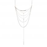 Arrow Bar Disc Multi Chain Statement Necklace