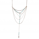 Arrow Turquoise Beaded Peace Sign Feather Tribal Statement Necklace
