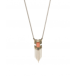 Burnished Goldtone & Coral Arrow Chain Link Necklace