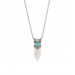 Silvertone & Turquoise Arrow Chain Link Necklace