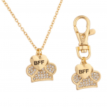 BFF Best Friend Forever Dog Tag & Necklace Combo Collar Pave Paw Heart