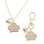 Gold Tone Crystal Pave Dog Paw Collar OwnerNecklaceBFF Set