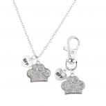Silver Tone Crystal Pave Dog Paw Collar OwnerNecklaceBFF Set