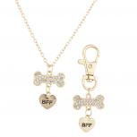 Goldtone Crystal Pave Dog Bone Dog Collar OwnerNecklaceBFF Set