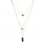 Goldtone Black Multi Row Layered Novelty Elephant Boho Necklace