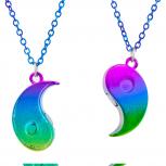 Yin Yang BFF AB Oil Slick Rainbow Pendant Necklace Set 2PC