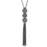 Black Crystal Rhinestone Caviar Glitter Stone Pendant Necklace