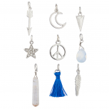 Silvertone Celestial Moon Stars Quartz Peace Novelty Charms 9PCS