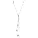 Silvertone Crystal Pave Rhinestone Triangle Spike Y necklace