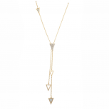 Gold Tone Crystal Pave Rhinestone Triangle Spike Y necklace
