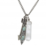 Boho Burnished Silver Marble Quartz Arrow Cluster Charm Necklace