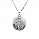 Silver Tone Live Laugh Live Tree of Life Circle Charm Necklace