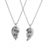Burnish Silver Tone Other Half BFF Best Friends Necklace Set 2PC