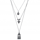 Burnished Silver Three Row Tribal EtchedLayered Necklace