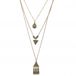 Burnished Gold Three Row Tribal EtchedLayered Necklace