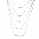 Silver Tone Five Row Geometric Layered Necklace